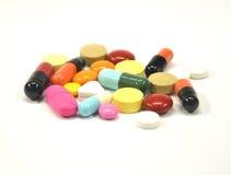Medicine su priorità bassa bianca Fotografie Stock