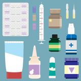 Medicine supplies used in pharmacology. Vector set. Medicine Pharmacy drug store cure healthcare medical prescription medicine chest first aid kit medicine Stock Images