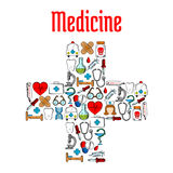 Medicine symbols in a shape of medical cross. Medicine and hospital symbols in a shape of medical cross with sketch icons of pills and syringes, stethoscopes and Stock Images