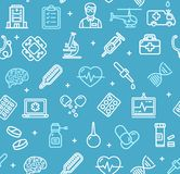 Medicine Symbols and Signs Pattern Background on a Blue. Vector. Medicine Symbols and Signs Pattern Background on a Blue Include of First Aid Kit, Capsule and Royalty Free Stock Images