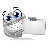 Medicine Tablet Mascot holding blank Board Stock Photography