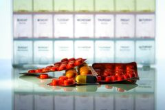 Medicine tablets and capsules Stock Image