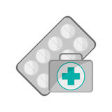 Medicine tablets and first aid kit  icon. Flat design medicine tablets and first aid kit  icon vector illustration Stock Images