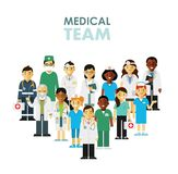 Medicine team concept with doctors and nurses in flat style isolated on hospital background. Practitioner young doctors man and woman standing together. Medical Stock Image