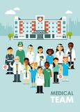 Medicine team concept with doctors and nurses in flat style isolated on hospital background. Practitioner young doctors man and woman standing together. Medical Royalty Free Stock Images
