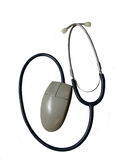 Medicine and technology. Computer mouse used as the head of a stethoscope royalty free stock photos