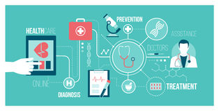 Medicine and technology. Medicine, healthcare, technology and augmented reality concept banner: user connecting with a digital tablet and receiving an online Royalty Free Stock Images