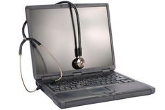 Medicine technology. laptop with stethoscope Stock Image