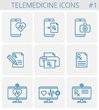 Medicine and telemedicine vector outline icon set. Medicine, telemedicine vector outline icon set. Mobile phone and heart symbol with pulse line inside. Smart royalty free illustration