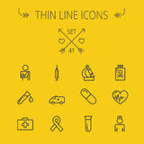 Medicine thin line icon set. For web and mobile. Set includes- heart with cardiogram, lady nurse, first aid kit, capsule, syringe, test tube, unity ribbon Royalty Free Stock Photos