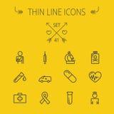 Medicine thin line icon set Royalty Free Stock Photos
