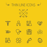 Medicine thin line icon set. For web and mobile. Set includes- molecule, medicine, doctor, stethoscope, bandage, medical symbol, air ambulance icons. Modern Royalty Free Stock Photos