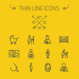 Medicine thin line icon set. For web and mobile. Set includes- stroller, crib, nurse, breastmilk, pregnant, baby icons. Modern minimalistic flat design. Vector Stock Photo