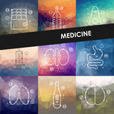 Medicine timeline infographics with blurred Stock Images