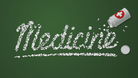 Medicine title created from pills and tablets Stock Images