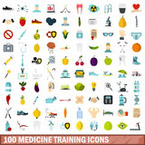 100 medicine training icons set, flat style. 100 medicine training icons set in flat style for any design vector illustration Royalty Free Stock Photos