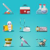 Medicine And Treatment Icon Set. Medicine and treatment shadow icon set with medical instruments and equipment for doctors vector illustration Stock Photo