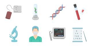 Medicine and treatment icons in set collection for design.. Medicine and treatment icons in set collection for design. Medicine and equipment vector symbol Royalty Free Stock Images