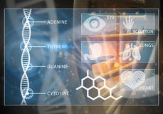 Medicine user interface. Media medicine background image as DNA research concept Royalty Free Stock Photography