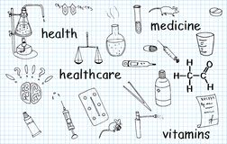 Medicine vector doodles Royalty Free Stock Photo