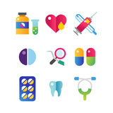 Medicine vector icons set. Doctors tools for health care. First help hospital patient clinic elements. Graphic nurse laboratory chemical symbols Stock Photography