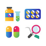 Medicine vector icons set. Doctors tools for health care. First help hospital patient clinic elements. Graphic nurse laboratory chemical symbols Royalty Free Stock Photography