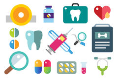 Medicine vector icons set. Doctors tools for. Health care. Medic first help, hospital tools icons. Vector healthcare icons set. Heart, doctor, tooth icon Royalty Free Stock Photography