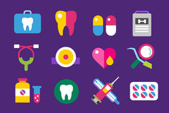 Medicine vector icons set. Doctors tools for Stock Image