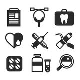 Medicine vector icons set. Doctors tools for. Health care. Medic first help, hospital tools icons. Vector helthcare icons set. Heart, doctor, tooth icon Stock Photo