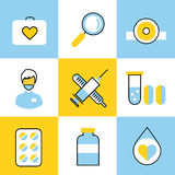 Medicine vector icons set. Doctors tools for Royalty Free Stock Image