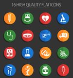 Medicine 16 flat icons. Medicine vector icons for web and user interface design stock illustration