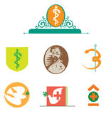 Medicine. Vector set of the logos. Medical logos. In ancient and modern style Royalty Free Stock Image