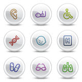 Medicine web colour icons set 2, circle buttons Royalty Free Stock Image
