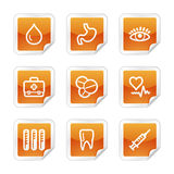 Medicine web icons. Vector web icons, orange glossy sticker series, V2 Royalty Free Stock Image