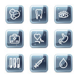 Medicine web icons. Vector web icons, blue glossy mineral square buttons series Stock Image