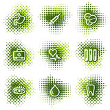 Medicine web icons. Web icons, green dots series Stock Photography