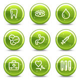 Medicine web icons. Vector web icons, green glossy circle buttons series Royalty Free Stock Photography