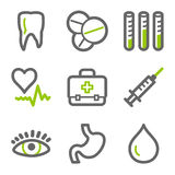 Medicine web icons. Vector web icons, green and gray contour series Royalty Free Stock Image