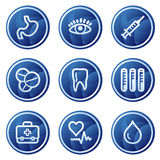 Medicine web icons, blue circle buttons series. Vector web icons, blue circle buttons series Royalty Free Stock Image
