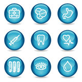 Medicine web icons, blue glossy sphere series. Vector web icons, blue glossy sphere series Stock Photography