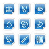 Medicine web icons, blue glossy sticker series Royalty Free Stock Photo