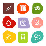 Medicine web icons, colour spots series Stock Photos