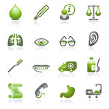 Medicine web icons. Gray and green series. Stock Image