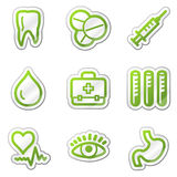 Medicine web icons, green contour sticker series Royalty Free Stock Photos