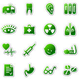 Medicine web icons, green sticker series. Vector web icons. Easy to edit, scale and colorize Royalty Free Stock Photography