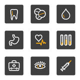 Medicine web icons, grey buttons series. Vector web icons, grey buttons series Stock Image