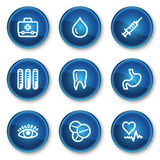 Medicine web icons set 1, blue circle buttons. Vector web icons set. Easy to edit, scale and colorize Stock Images