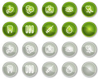 Medicine web icons set 1, green circle buttons. Vector web icons set. Easy to edit, scale and colorize Stock Image