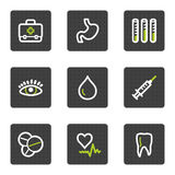 Medicine web icons set 1, grey square buttons. Vector web icons set. Easy to edit, scale and colorize Stock Photo