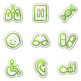 Medicine web icons set 2. Green contour sticker series Stock Photography